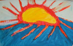 Kinderzeichnung einer Sonne und Meer